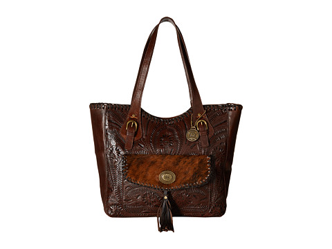 American West Annie s Secret Collection Large Zip Top Tote - Chestnut Brown/Brindle Hair
