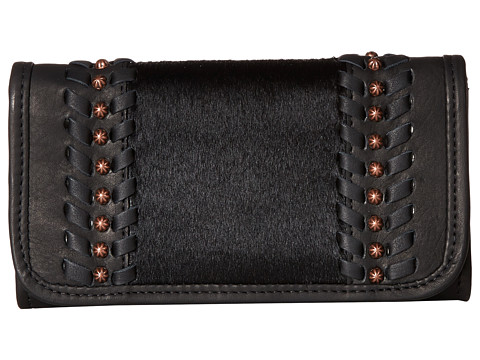 American West Cow Town Trifold Wallet - Black/Black Hair