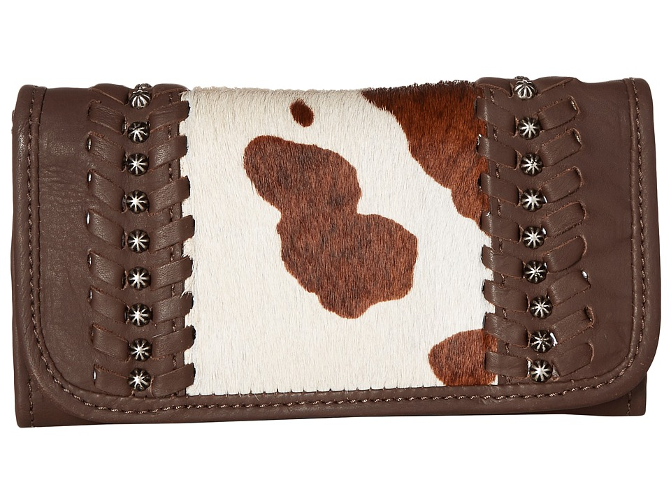 American West - Cow Town Trifold Wallet (Chocolate/Pony Hair) Wallet Handbags