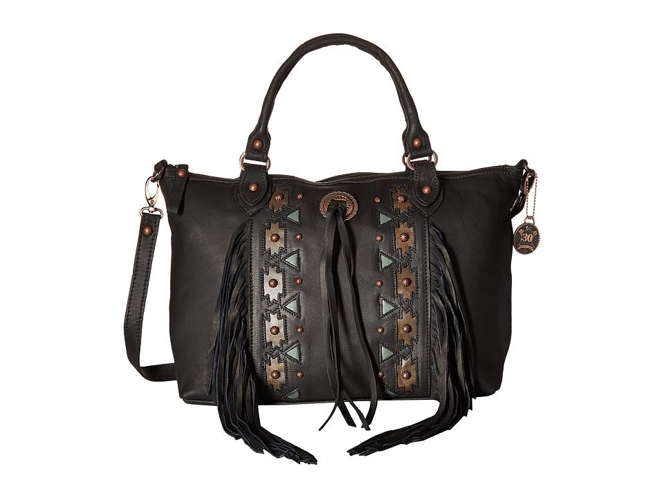 American West - Chenoa Large Zip Top Convertible Satchel (Black) Satchel Handbags