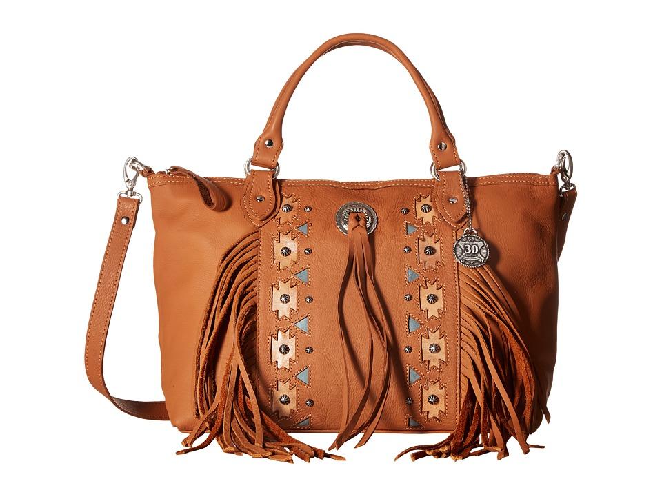 American West - Chenoa Large Zip Top Convertible Satchel (Golden Tan) Satchel Handbags