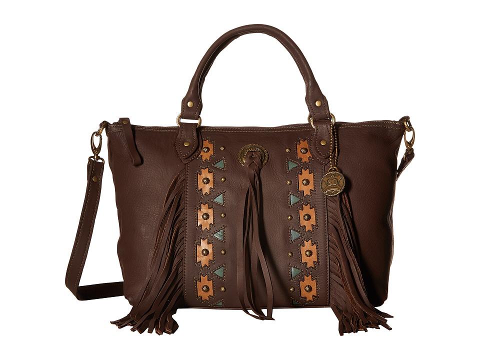 American West - Chenoa Large Zip Top Convertible Satchel (Chocolate) Satchel Handbags