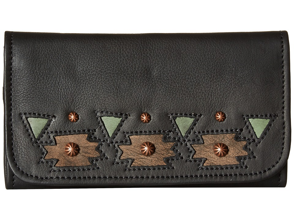 American West - Chenoa Trifold Wallet (Black) Wallet Handbags