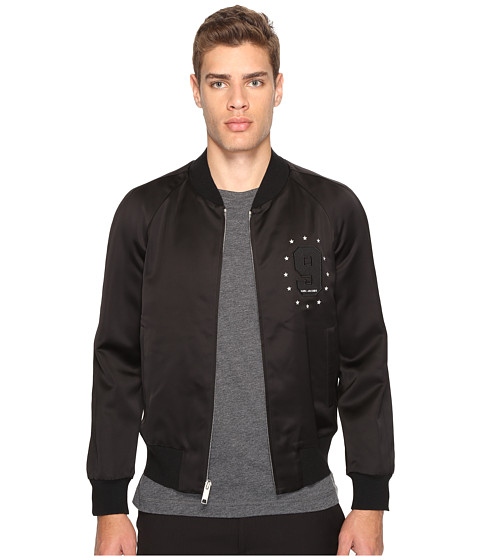 Marc Jacobs Satin Suiting Bomber - Jet Black