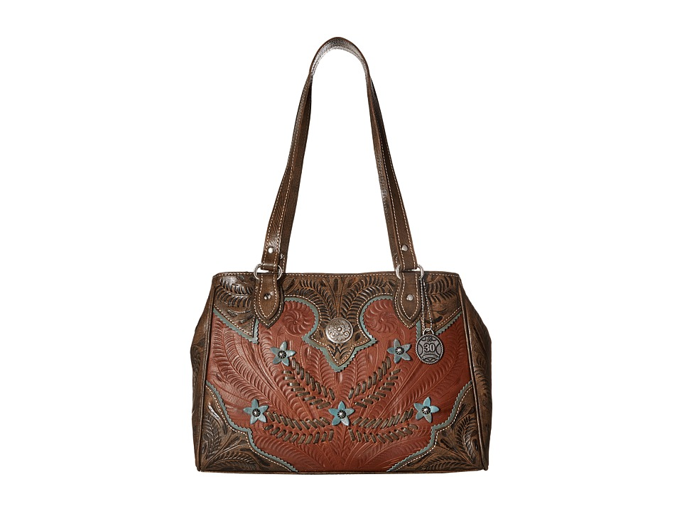American West - Desert Wildflower Large 3 Compartment Shopper (Antique Brown/Distressed Charcoal Brown/Sky Blue) Handbags