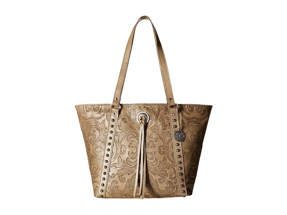 American West - Baroque Zip Top Bucket Tote (Sand) Tote Handbags