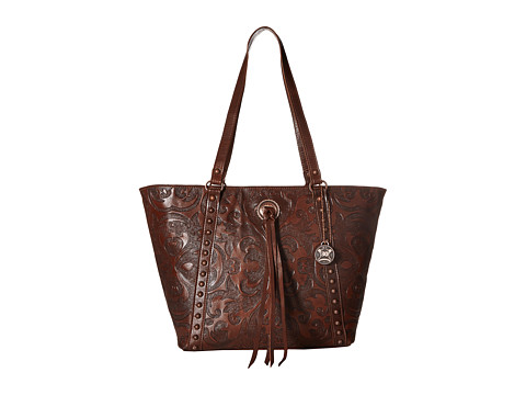 American West Baroque Zip Top Bucket Tote - Chestnut