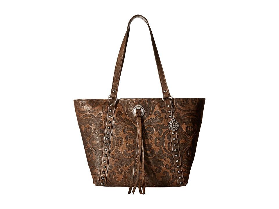 American West - Baroque Zip Top Bucket Tote (Distressed Charcoal Brown) Tote Handbags