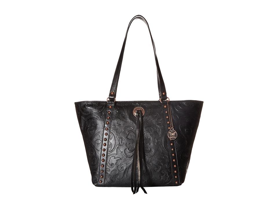 American West - Baroque Zip Top Bucket Tote (Black) Tote Handbags