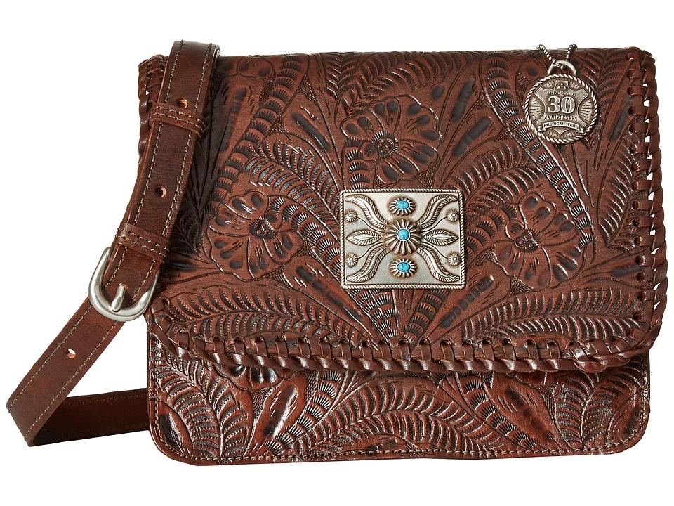 American West - Grand Prairie Flap Crossbody (Chestnut Brown) Cross Body Handbags