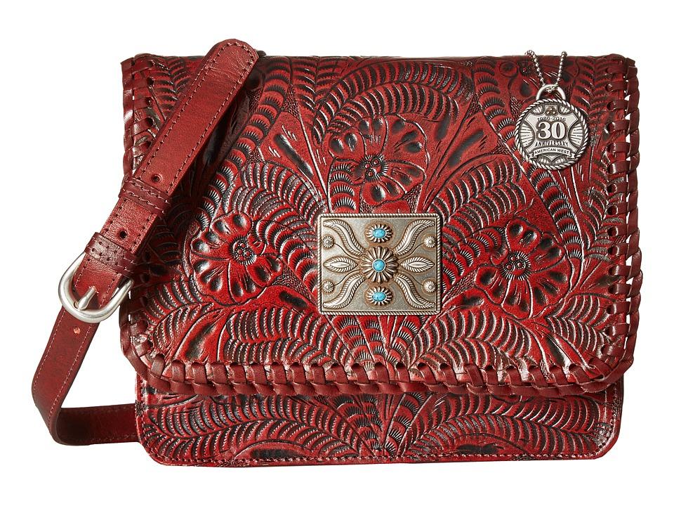 American West - Grand Prairie Flap Crossbody (Distressed Crimson) Cross Body Handbags
