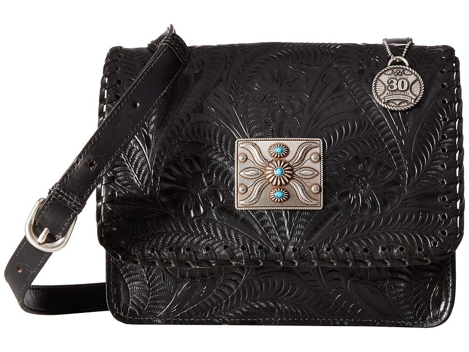 American West - Grand Prairie Flap Crossbody (Black) Cross Body Handbags