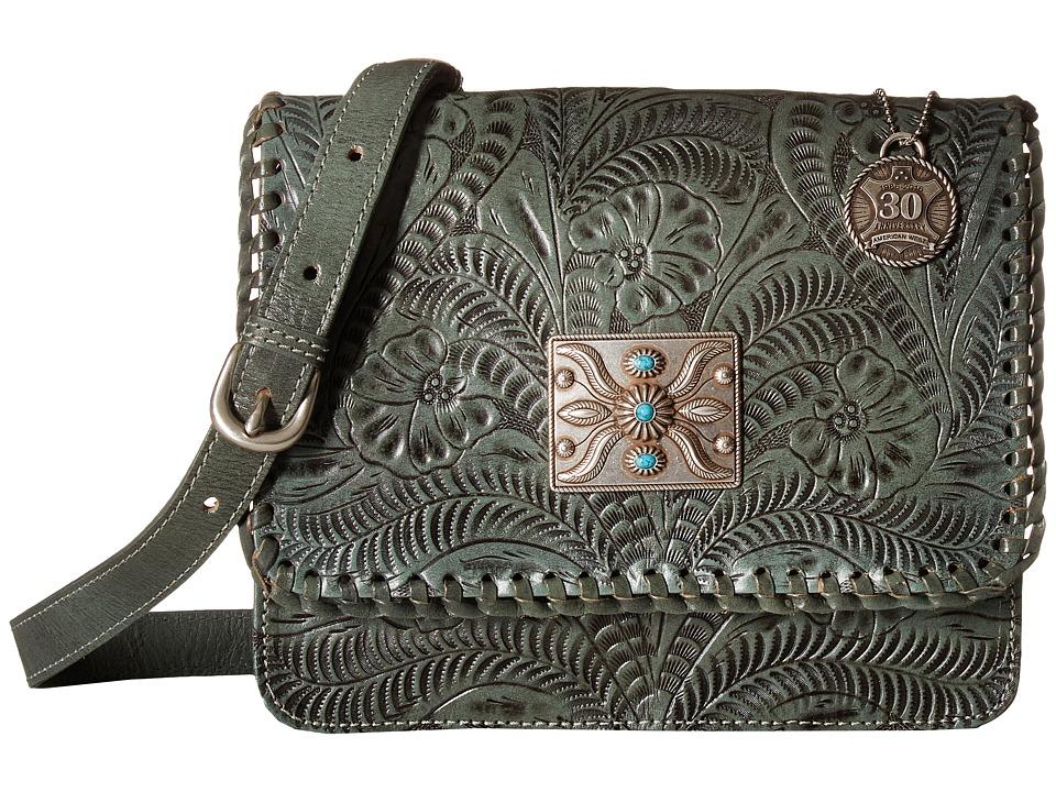 American West - Grand Prairie Flap Crossbody (Turquoise) Cross Body Handbags