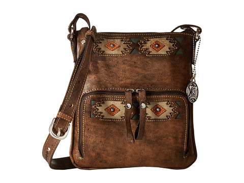 American West Native Sun Crossbody/Wallet - Distressed Charcoal Brown/Sand/Golden Tan/Turquoise