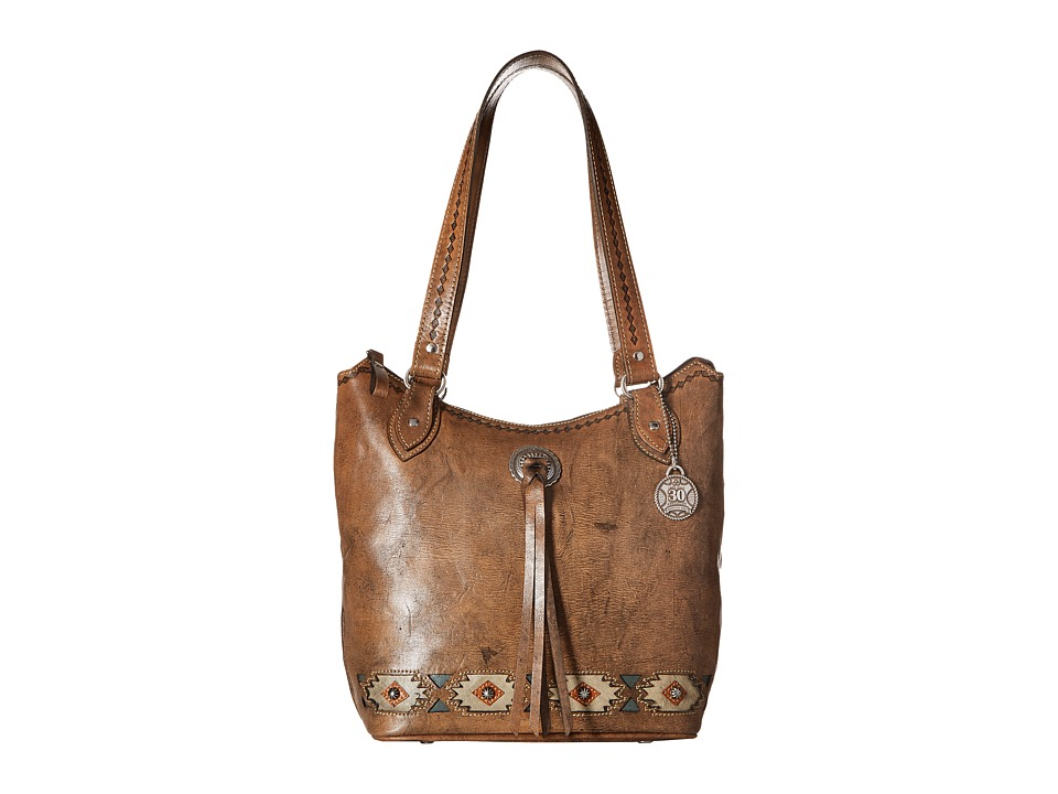 American West - Native Sun Zip Top Bucket Tote (Distressed Charcoal Brown/Sand/Golden Tan/Turquoise) Tote Handbags