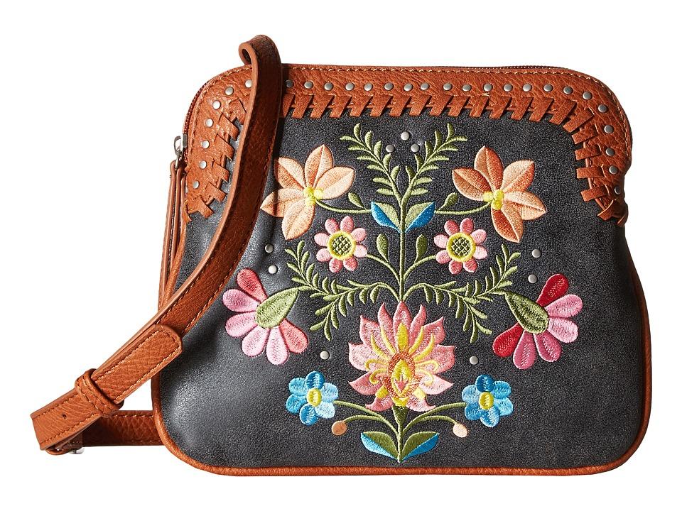 American West - Maya 2-Compartment Crossbody (Charcoal/Terracotta) Cross Body Handbags