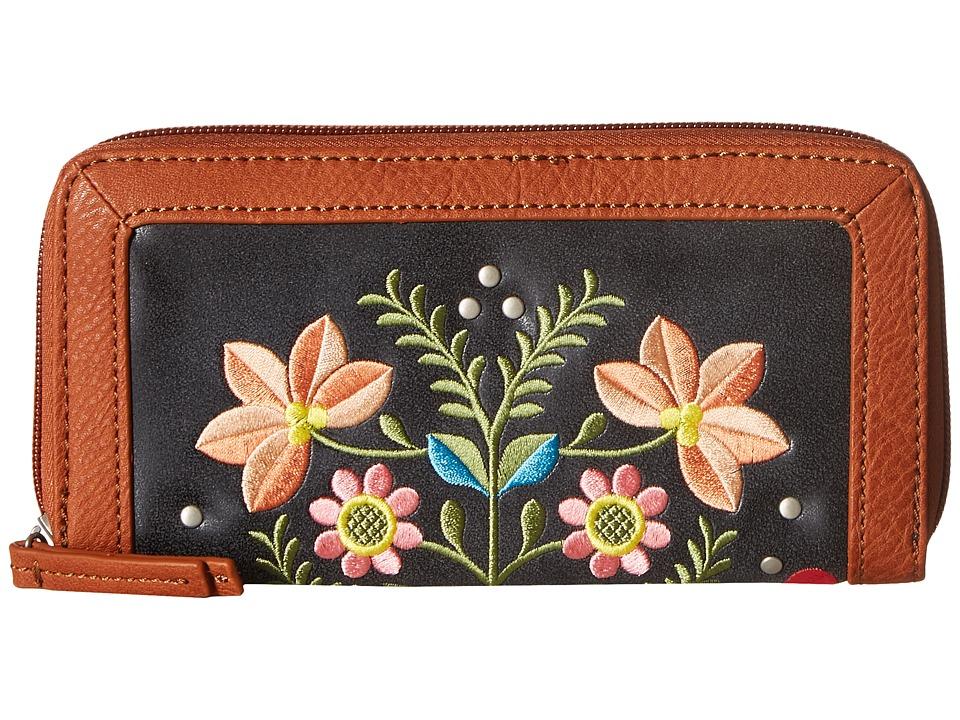 American West - Maya Zip Around Wallet (Charcoal/Terracotta) Wallet Handbags