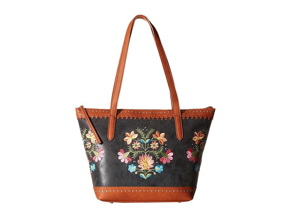 American West - Maya Zip Top Tote (Charcoal/Terracotta) Tote Handbags