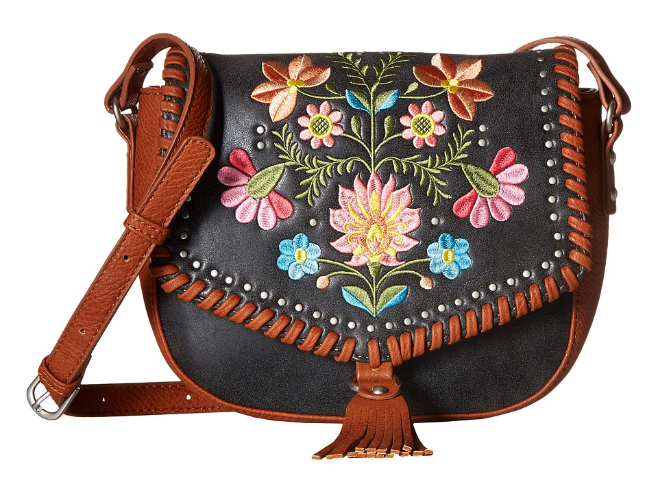 American West - Maya Flap Crossbody (Charcoal/Terracotta) Cross Body Handbags