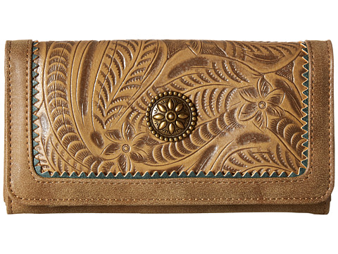 American West Guns And Roses Flap Wallet - Ecru/Sage