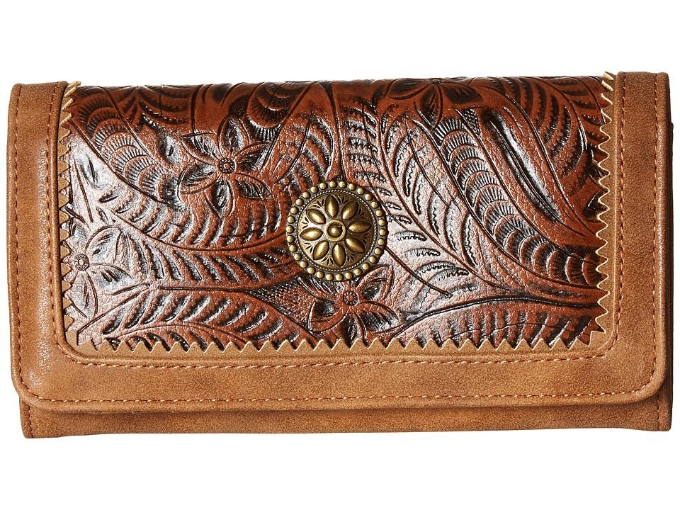 American West - Guns And Roses Flap Wallet (Medium Brown/Chestnut) Wallet Handbags
