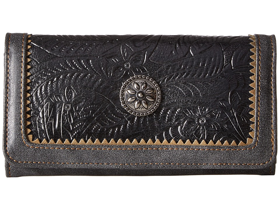 American West - Guns And Roses Flap Wallet (Charcoal/Black) Wallet Handbags