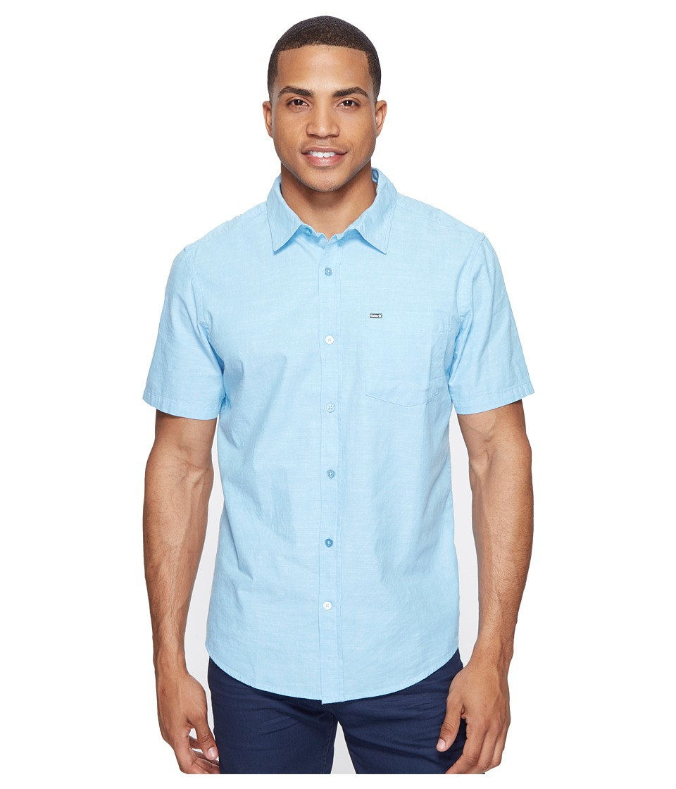 Hurley One Only SS Woven Shirt Vivid Sky Mens Short Sleeve Button Up