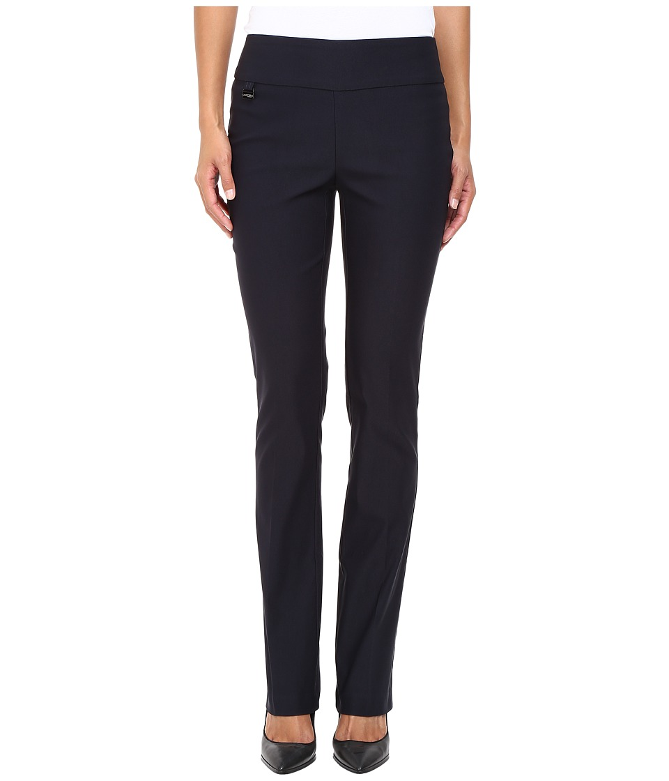 Lisette L Montreal - Solid Magical Lycra True Straight (Navy) Womens Casual Pants