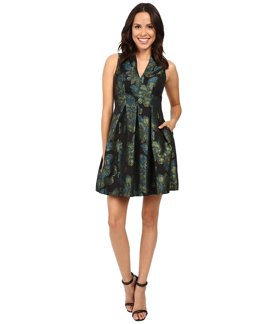 Vince Camuto Jacquard V-Neck Sleeveless Fit and Flare (Green/Navy) Women