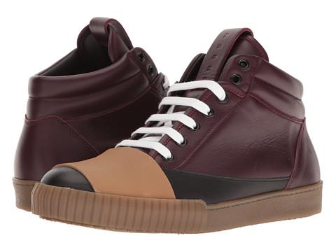 MARNI Banded High Top Sneaker - Black/Bordeaux