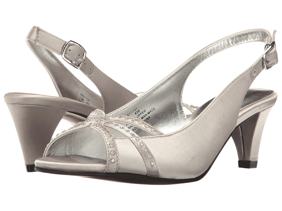 Vintage Inspired Wedding Dress | Vintage Style Wedding Dresses David Tate Regal Silver Satin High Heels $110.95 AT vintagedancer.com