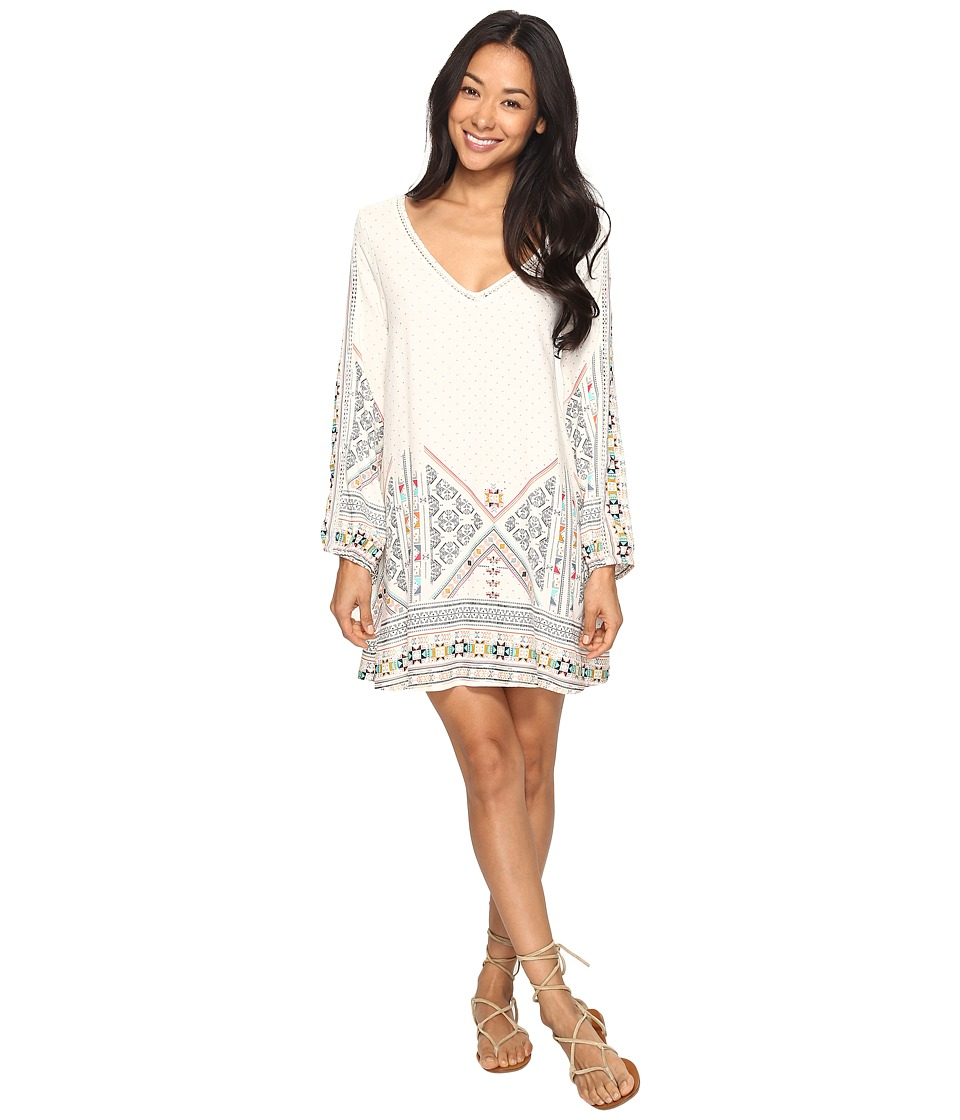 Roxy April Morning Long Sleeve Dress (Marshmallow Tex Mex Border) Women