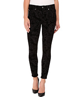 7 For All Mankind - The Ankle Skinny w/ Contour Waist Band in Black Velveteen Paisley