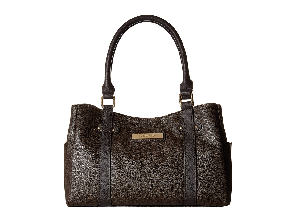 Calvin Klein - Hudson H2ADJ592 (Textured Brown/Brown/Dark Brown) Satchel Handbags