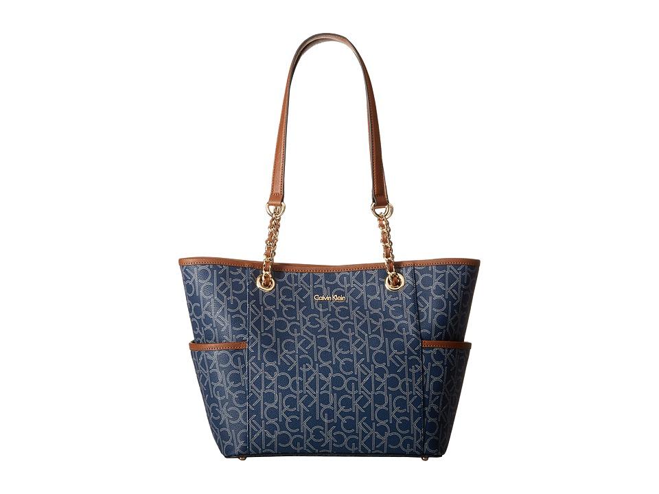 Calvin Klein - Monogram Chain Tote (Navy/Glacier) Tote Handbags