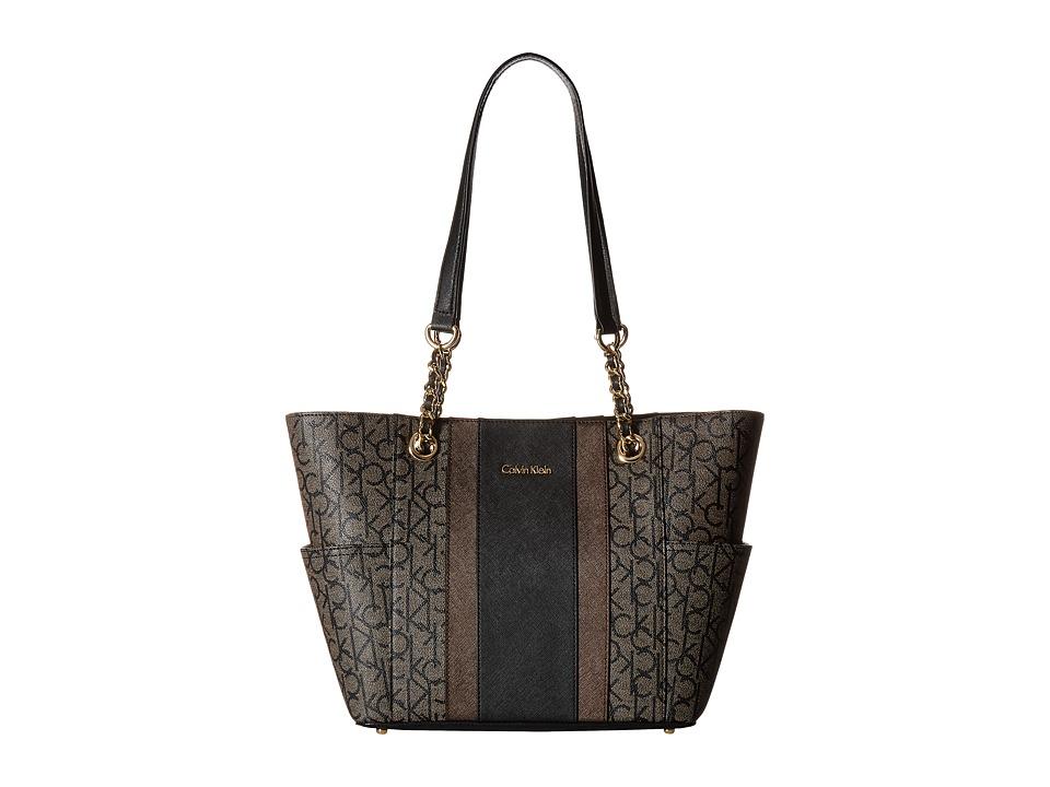 Calvin Klein - Monogram Chain Tote (Textured Khaki/Black Stripe) Tote Handbags