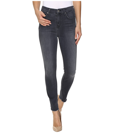 7 For All Mankind The High Waist Ankle Skinny w/ Raw Hem in Cobblestone Grey