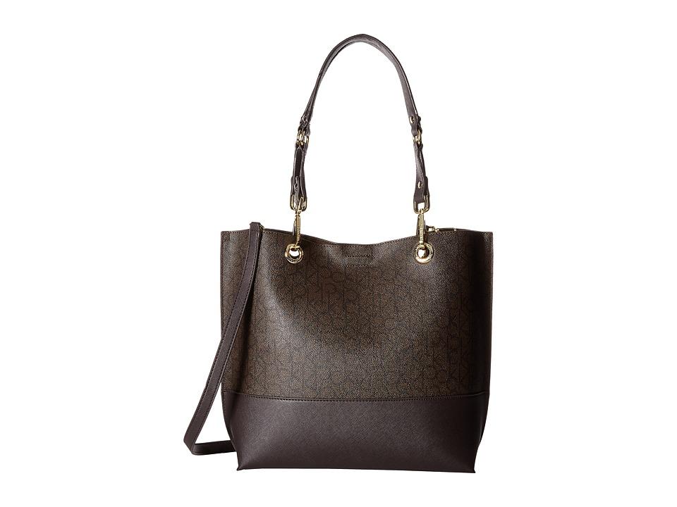Calvin Klein - Logo Tote (Textured Brown/Brown/Dark Brown) Tote Handbags