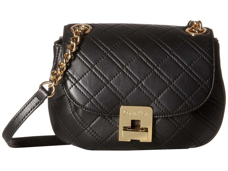 Calvin Klein - Quilt Lamb Crossbody (Black/Gold) Cross Body Handbags