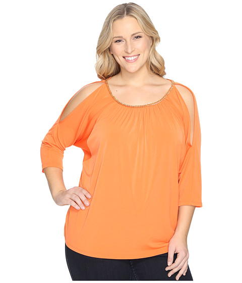 MICHAEL Michael Kors Plus Size Chain Neck Cold Shoulder Top