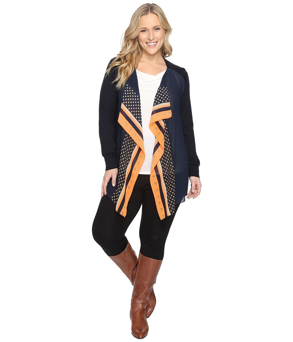 MICHAEL Michael Kors Plus Size Woven Pattern Mix Cardi (Poppy) Women