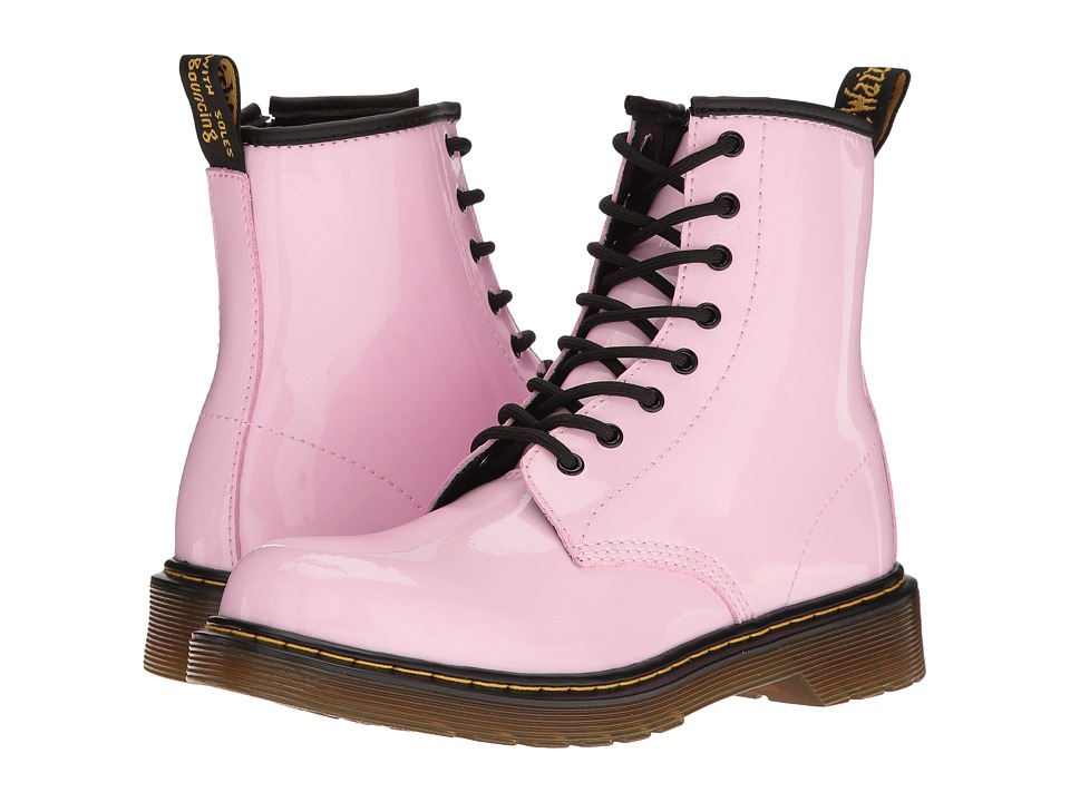 Dr. Martens Kid's Collection Delaney Boots (Big Kid) (Baby Pink Patent Lamper) Kids Shoes