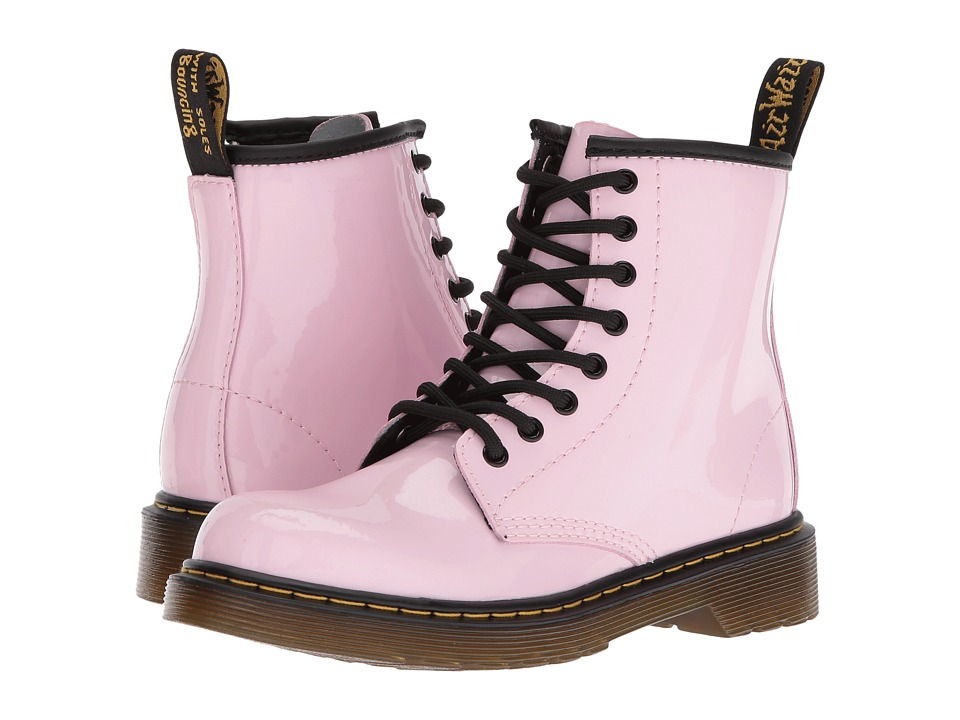 Dr. Martens Kid's Collection Delaney Lace Boot (Little Kid/Big Kid) (Baby Pink Patent Lamper) Kids Shoes