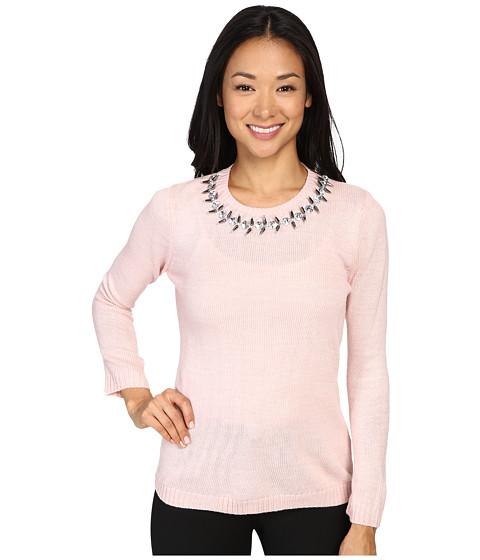 Ivanka Trump Jewel Neck Sweater - Heather Blush Pink
