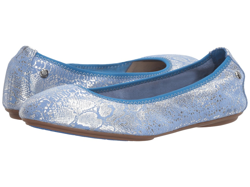 Hush Puppies Chaste Ballet (Azure Blue Metallic Snake Suede) Women