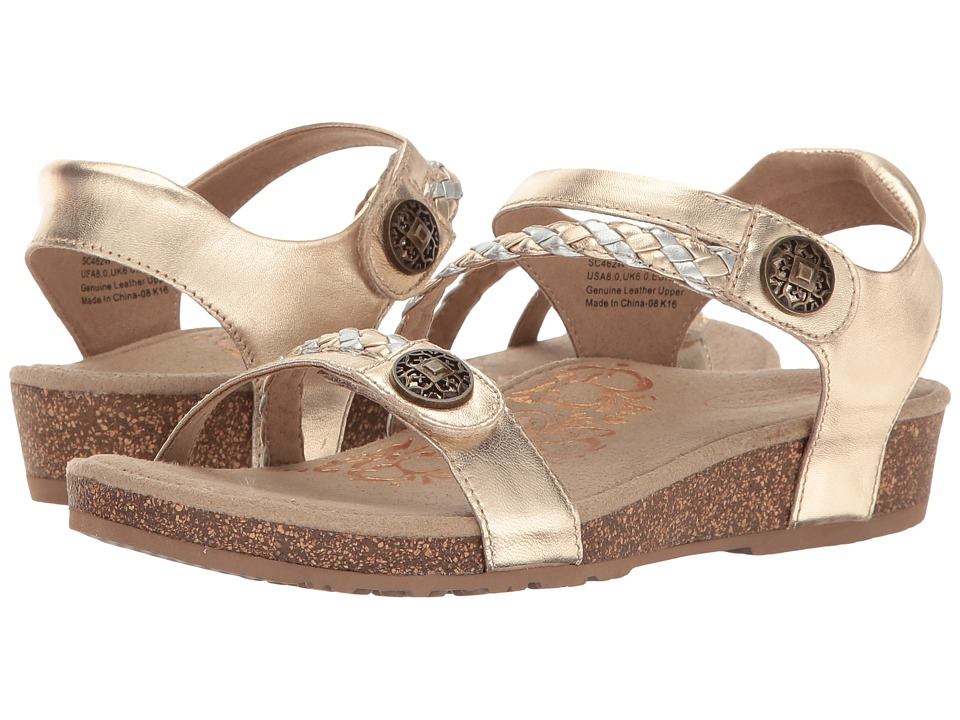 Aetrex Jillian Quarter Strap (Gold) Sandals
