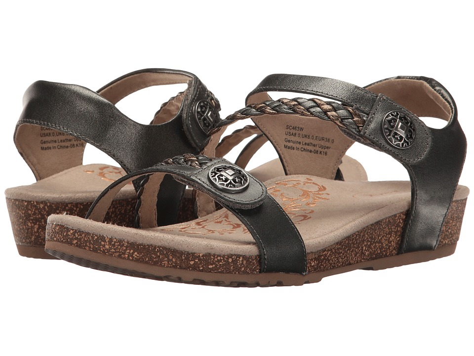 Aetrex Jillian Quarter Strap (Gunmetal) Sandals