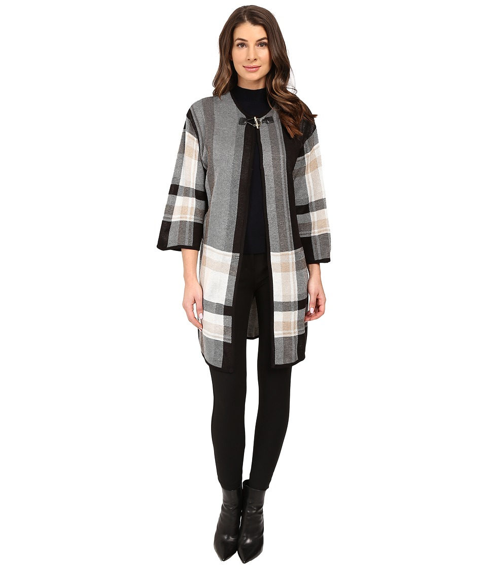 Ivanka Trump Plaid Sweater Poncho (Black/Heather Oatmeal/Heather Camel) Women