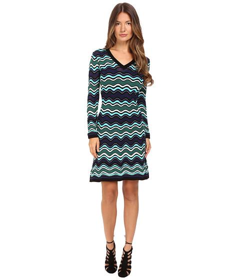 M Missoni Long Sleeve V-Neck Ripple Stitch Dress - Teal