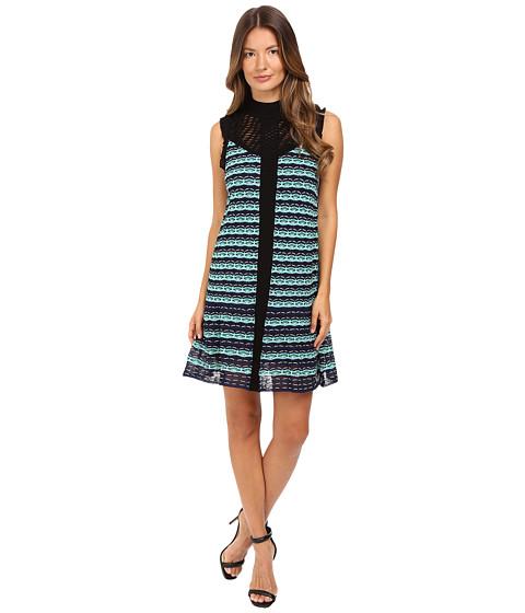 M Missoni Topstitch Knit Sleeveless Dress w/ Drop Waist Ruffle
